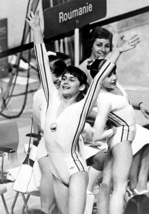 Nadia Comaneci Celebrating at Olympics